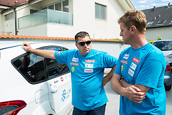 Mitja Kunc and Klemen Bergant at departure of Slovenian Men Ski Team to training camp in Argentina and Chile on August 21, 2014 in SZS, Ljubljana, Slovenia. Photo by Vid Ponikvar / Sportida.com