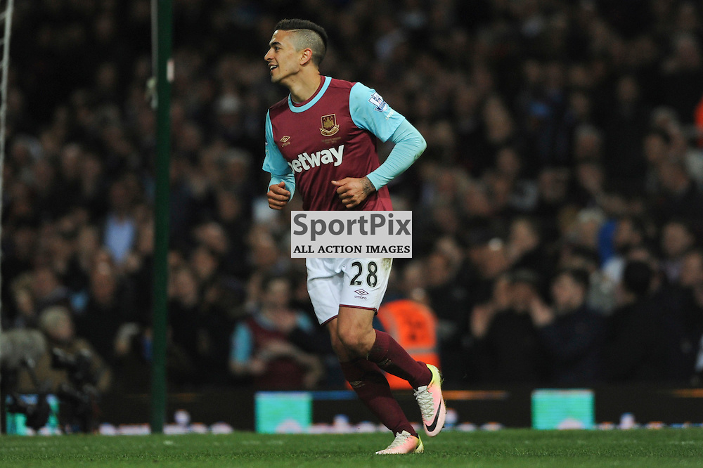 West Hams Manuel Lanzini rues a missed chance during the West Ham v Watford match in the Barclays Premier League on the 20th April 2016.