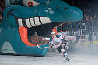 KELOWNA, CANADA, FEBRUARY 8: Myles Bell #29 of the Kelowna Rockets enters the ice as the Seattle Thunderbirds visit the Kelowna Rockets on February 8, 2012 at Prospera Place in Kelowna, British Columbia, Canada (Photo by Marissa Baecker/www.shootthebreeze.ca) *** Local Caption ***