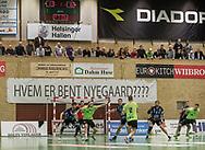 HÅNDBOLD: Nordsjælland i angreb under kampen i 888-Ligaen mellem Nordsjælland Håndbold og TTH Holstebro den 28. marts 2018 i Helsingør Hallen. Foto: Claus Birch.