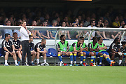 AFC Wimbledon manager Neal Ardley watching the game during the EFL Sky Bet League 1 match between AFC Wimbledon and Oldham Athletic at the Cherry Red Records Stadium, Kingston, England on 21 April 2018. Picture by Matthew Redman.