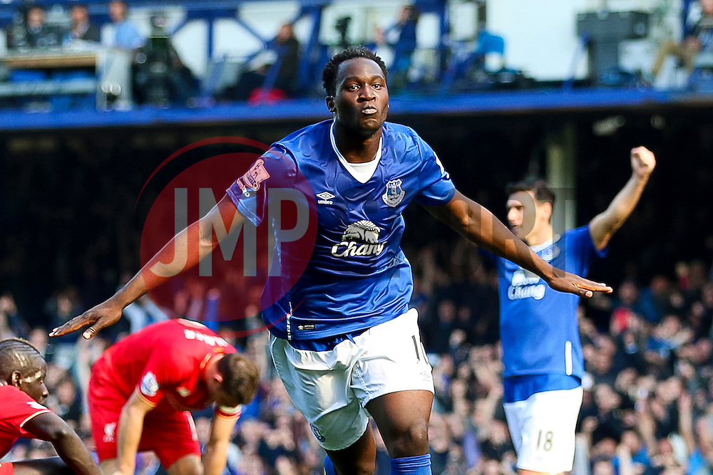 Everton's Romelu Lukaku celebrates after scoring the equalising goal to make it 1-1  - Mandatory byline: Matt McNulty/JMP - 07966 386802 - 04/10/2015 - FOOTBALL - Goodison Park - Liverpool, England - Everton  v Liverpool - Barclays Premier League