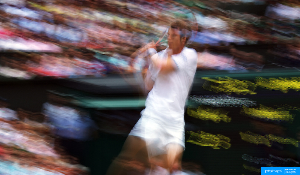 Andy Murray, Great Britain, in action during his three set win over Viktor Troicki of Serbia during Round Three of the Men's Singles competition at the All England Lawn Tennis Championships at Wimbledon, London, England on Saturday, June 27, 2009. Photo Tim Clayton.