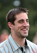 Feb 7, 2011;  Lake Buena Vista, FL, USA;  Green Bay Packers quarterback and Super Bowl XLV MVP Aaron Rodgers addresses the media after a ticker-tape parade on Main Street at Walt Disney World's Magic Kingdom.