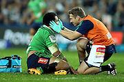 Nasi Manu injury, NSW Waratahs v Otago Highlanders Semi Final. Sport Rugby Union Super Rugby Domestic Provincial. Allianz Stadium SFS. 27 June 2015. Photo by Paul Seiser/SPA Images