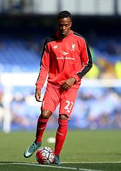 Divock Origi of Liverpool warms up  - Mandatory byline: Matt McNulty/JMP - 07966 386802 - 04/10/2015 - FOOTBALL - Goodison Park - Liverpool, England - Everton  v Liverpool - Barclays Premier League