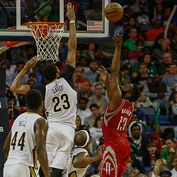 Mar 17, 2017; New Orleans, LA, USA; Houston Rockets guard James Harden (13) shoots over New Orleans Pelicans forward Anthony Davis (23) during the second half of a game at the Smoothie King Center. The Pelicans defeated the Rockets 128-112.  Mandatory Credit: Derick E. Hingle-USA TODAY Sports