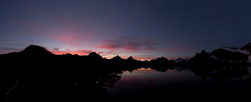 The Ramparts and Amethyst Lake from Tonquin Valley Adventures dock in Jasper National Park  at sunrise