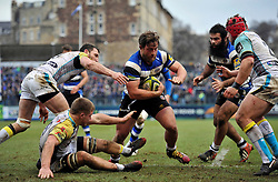 Max Lahiff of Bath Rugby runs in a try - Photo mandatory by-line: Patrick Khachfe/JMP - Mobile: 07966 386802 07/02/2015 - SPORT - RUGBY UNION - Bath - The Recreation Ground - Bath Rugby v Ospreys - LV= Cup