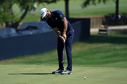 August 10, 2018 - St. Louis, Missouri, United States - Dustin Johnson putts the 9th green during the second round of the 100th PGA Championship at Bellerive Country Club. (Credit Image: © Debby Wong via ZUMA Wire)