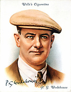 P(Pelham) G(Grenville) Wodehouse (1881-1975) English novelist and writer. Creator of Bertie Wooster, Jeaves and Lord Emsworth. From a cigarette card published 1937