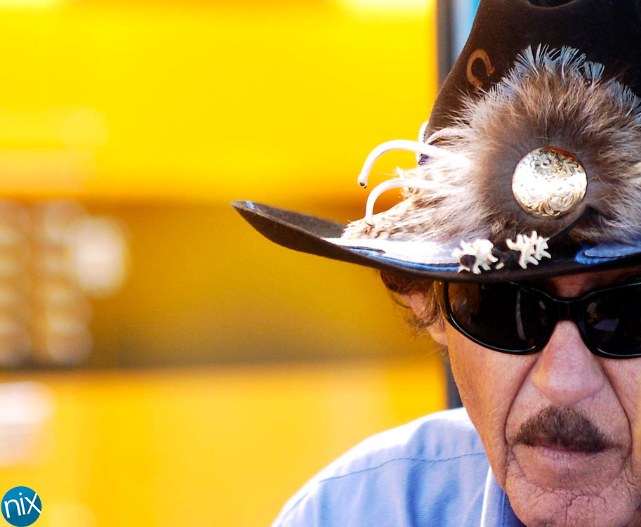 Richard Petty answers questions from reporters at Lowe's Motor Speedway Thursday afternoon.(photo by James Nix)