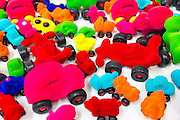 Cars in bright color as Rubbabu children's felt toys and souvenirs in shop, Arken Museum of Modern Art Denmark