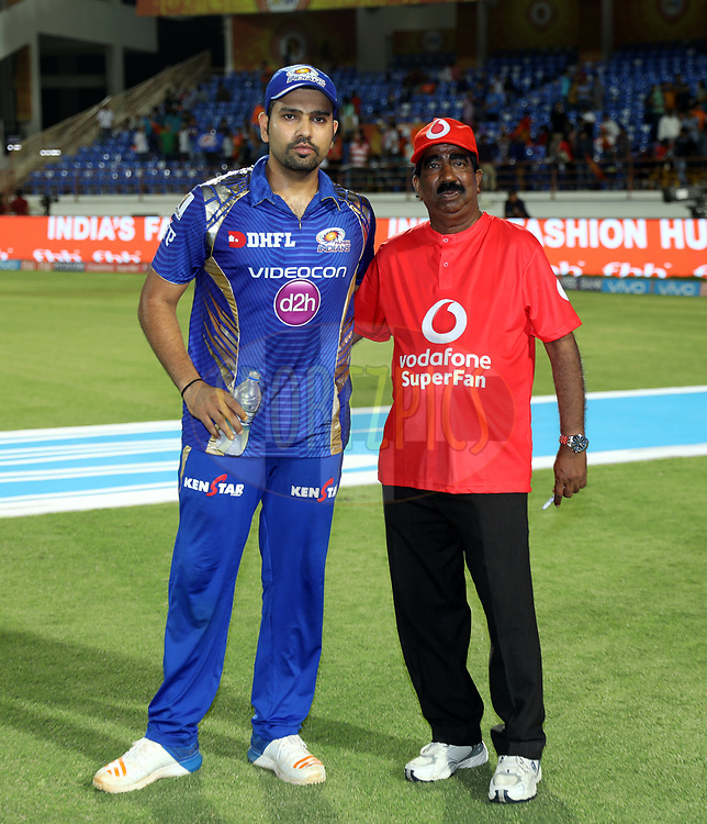 Mumbai Indians captain Rohit Sharma and vodafone fan after the match 35 of the Vivo 2017 Indian Premier League between the Gujarat Lions and the Mumbai Indians  held at the Saurashtra Cricket Association Stadium in Rajkot, India on the 29th April 2017<br /> <br /> Photo by Sandeep Shetty - Sportzpics - IPL
