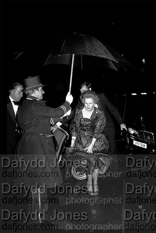 Margaret Thatcher arriving at the Winter Ball, Grosvenor House, Park Lane, February 1984.