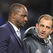 Patrick Vieira, (left), head coach of NYCFC, during the New York City FC Vs Orlando City, MSL regular season football match at Yankee Stadium, The Bronx, New York,  USA. 18th March 2016. Photo Tim Clayton