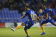 45 Stefan Payne shoots on goal for Shrewsbury Town during the EFL Sky Bet League 1 match between Shrewsbury Town and Peterborough United at Greenhous Meadow, Shrewsbury, England on 24 April 2018. Picture by Graham Holt.