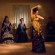 A flamenco dancer performs during a holiday celebration in the historic Adobes of Monterey, California