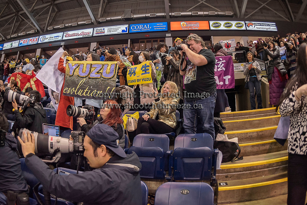 KELOWNA, BC - OCTOBER 25: Fans rise to their feet after the mens short program of Japanese figure skater Yuzuru Hanyu at Skate Canada International held at Prospera Place on October 25, 2019 in Kelowna, Canada. (Photo by Marissa Baecker/Shoot the Breeze)