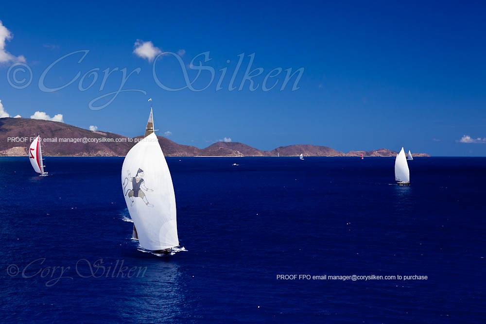 Hanuman, sojana and Zefira sailing in the Caribbean Superyacht Regatta and Rendezvous, race 2.