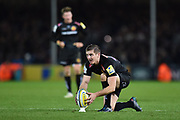 Gareth Steenson of Exeter Chiefs places the ball ready for a penalty kick during the Aviva Premiership match between Exeter Chiefs and Harlequins at Sandy Park, Exeter, United Kingdom on 19 November 2017. Photo by Graham Hunt.