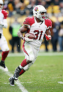 Arizona Cardinals running back David Johnson (31) runs the ball during the 2015 NFL week 6 regular season football game against the Pittsburgh Steelers on Sunday, Oct. 18, 2015 in Pittsburgh. The Steelers won the game 25-13. (©Paul Anthony Spinelli)