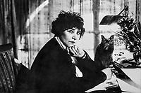 France, Yonne (89), La Puisaye, Saint-Sauveur-en-Puisaye, le musée Colette, Colette avec son chat, photo de A. Kertesz // Europe, France, Burgundy, Yonne, Saint Sauveur en Puisaye, Colette museum