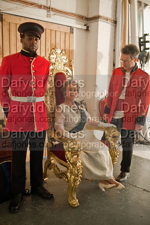 JASPER; CORINNE AS THE QUEEN; REGGIE, filming for Sly and Reggie ' Dub Save the Queen. Moorish Rd. London Sw2. 5 April 2012.