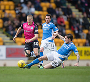 St Johnstone&rsquo;s Paul Paton tackles Dundee&rsquo;s Henrik Ojamaa - St Johnstone v Dundee in the Ladbrokes Scottish Premiership at McDiarmid Park, Perth: Picture &copy; David Young<br /> <br />  - &copy; David Young - www.davidyoungphoto.co.uk - email: davidyoungphoto@gmail.com