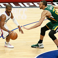 25 April 2017: Utah Jazz center Rudy Gobert (27) defends on LA Clippers guard Chris Paul (3) during the Utah Jazz 96-92 victory over the Los Angeles Clippers, during game 5 of the first round of the Western Conference playoffs, at the Staples Center, Los Angeles, California, USA.