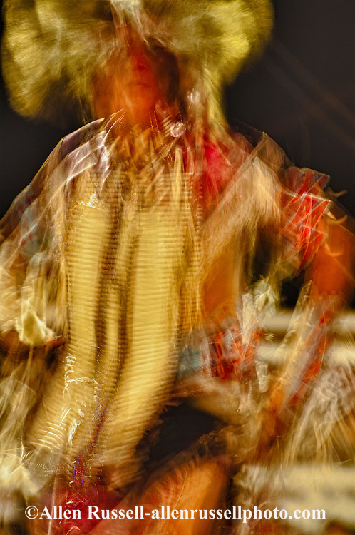 Crow Fair, powwow, Traditional Dancer, Crow Indian Reservation, Montana, blurred motion