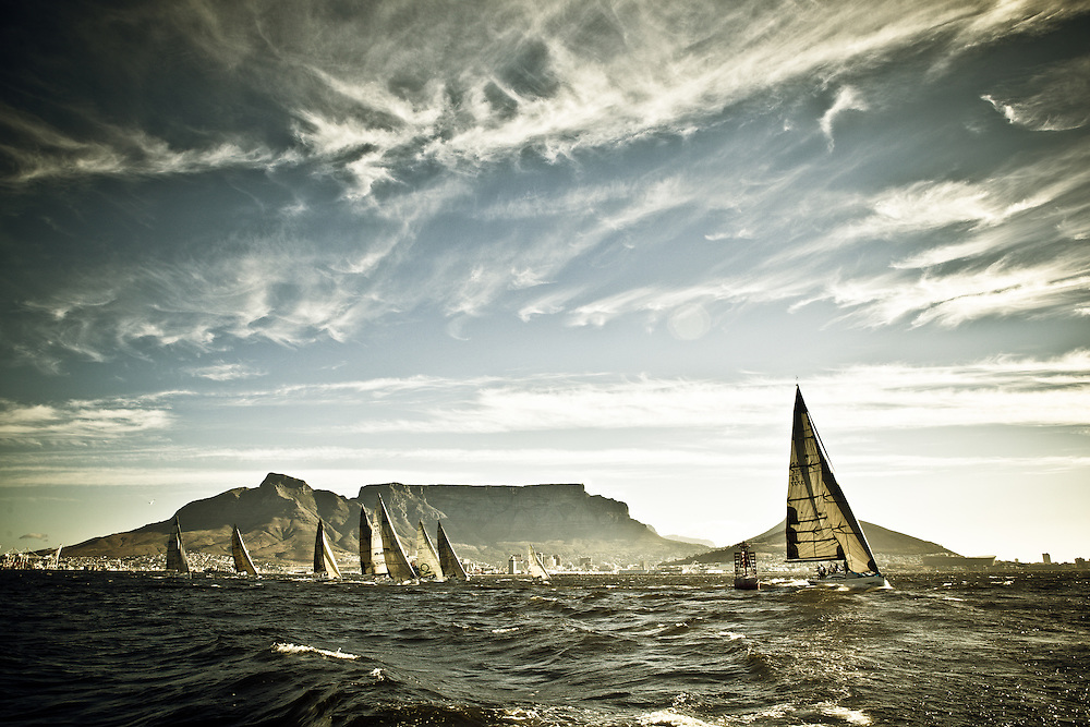 Yacht's racing in Table Bay under the backdrop of Table Mountain.