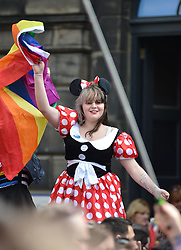 Marchers get into the spirit of Scotia Pride at the annual parade in Edinburgh.<br /> <br /> © Dave Johnston/ EEm