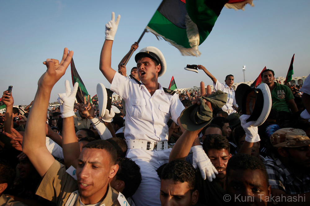 Cadets celebrate during military graduation ceremony in Benghazi, Libya on May 28, 2011. Several hundred cadets are graduated for the first time since the uprise against Col. Muammar Qaddafi began on Feb 17..Photo by Kuni Takahashi..