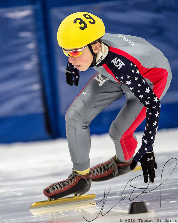 March 19, 2016 - Verona, WI - Alec Vandergriff, skater number 39 competes in US Speedskating Short Track Age Group Nationals and AmCup Final held at the Verona Ice Arena.