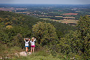 Students from the local University of the South, in Sewanee, are staring at the panorama after a morning jog, near Winchester, TN, USA.