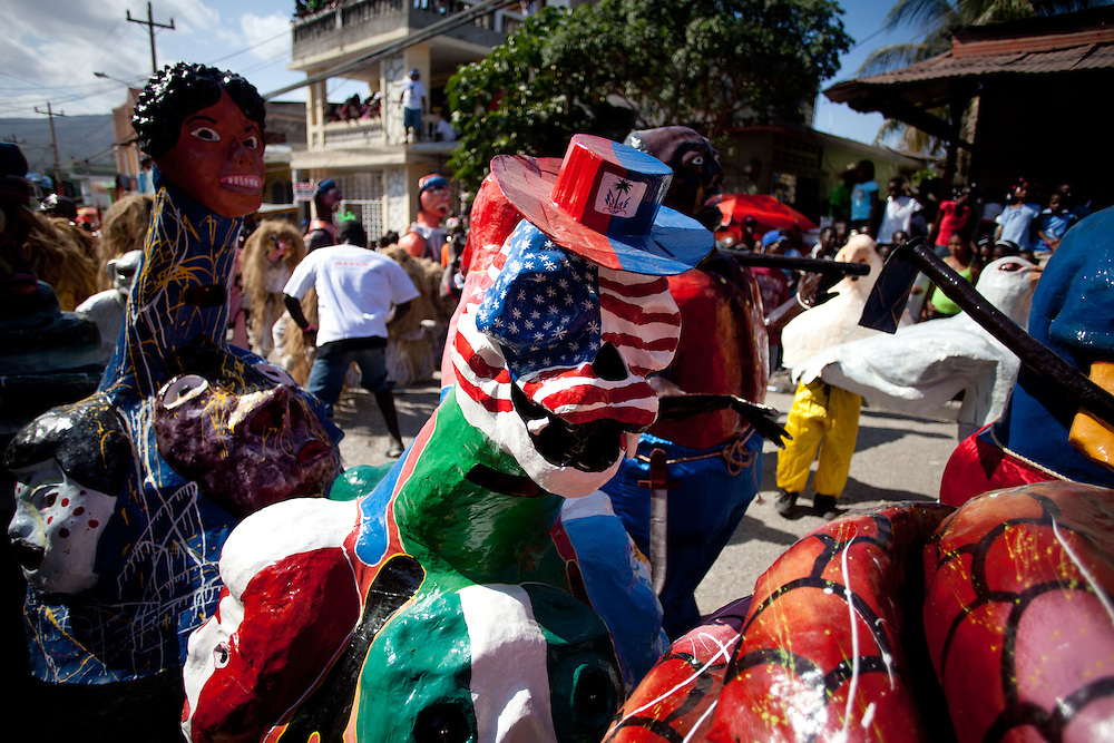 The carnival celebrations in Jacmel are famous for intricate paper mache masks and street theater. Carnival celebrations did not happen last year in Haiti becuase of the January 12th earthquake. For many of the artisans in Jacmel the revenue from carnival is their primary source of income./// Paper mache masks in the carnival parade.