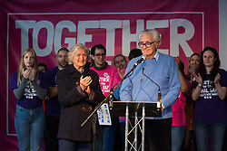 London, UK. 19 October, 2019. Lord Heseltine is applauded after addressing hundreds of thousands of pro-EU citizens at a Together for the Final Say People's Vote rally in Parliament Square as MPs meet in a 'super Saturday' Commons session, the first such sitting since the Falklands conflict, to vote, subject to the Sir Oliver Letwin amendment, on the Brexit deal negotiated by Prime Minister Boris Johnson with the European Union.