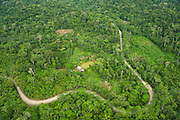 Maxus Road, Oil road built in 1991 inside Yasuni National Park now showing colonization.<br /> Yasuni National Park, Amazon Rainforest<br /> ECUADOR. South America<br /> HABITAT & RANGE: