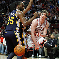 10 March 2012: Chicago Bulls center Omer Asik (3) passes the ball during the Chicago Bulls 111-97 victory over the Utah Jazz at the United Center, Chicago, Illinois, USA.