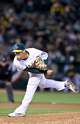 April 5, 2010; Oakland, CA, USA;  Oakland Athletics relief pitcher Andrew Bailey (40) during the ninth inning against the Seattle Mariners at Oakland-Alameda County Coliseum. Seattle defeated Oakland 5-3.