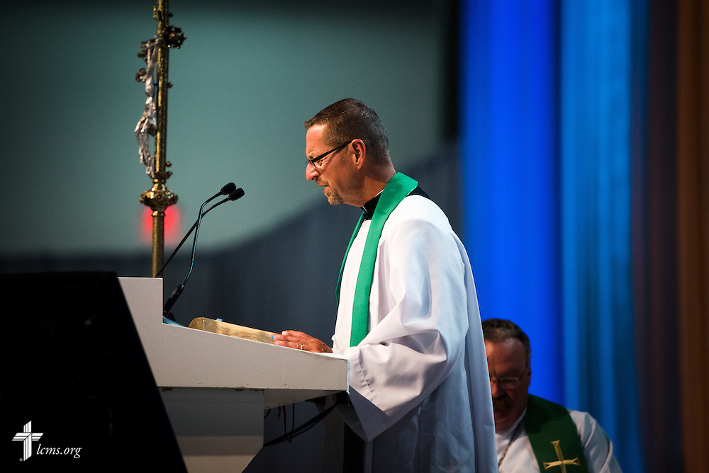 The Rev. Will Weedon, chaplain of the LCMS International Center, reads during the Opening Divine Service of the 66th Regular Convention of The Lutheran Church–Missouri Synod on Saturday, July 9, 2016, at the Wisconsin Center in Milwaukee. LCMS/Frank Kohn