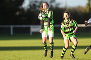 Forest Green Rovers Issy Newns(10) controls the ball during the South West Womens Premier League match between Forest Greeen Rovers Ladies and Marine Academy Plymouth LFC at Slimbridge FC, United Kingdom on 5 November 2017. Photo by Shane Healey.