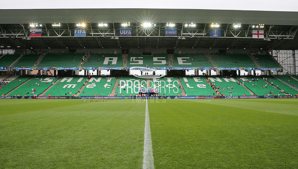 View inside the Stade Geoffroy Guichard stadium during the Euro 2016 Group B match between Slovakia and England at Stade Geoffroy Guichard, Saint-Etienne, France on 20 June 2016. Photo by Phil Duncan.