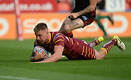 Alex Mellor of Huddersfield Giants dives over to score during the Betfred Super League match at the John Smiths Stadium, Huddersfield<br /> Picture by Richard Land/Focus Images Ltd +44 7713 507003<br /> 12/07/2018
