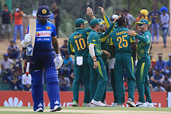 July 28, 2018 - Dambulla, Sri Lanka - South African cricketer Kagiso Rabada celebrates celebrates with team members during the 1st One Day International cricket match between Sri Lanka and South Africa at Rangiri Dambulla International Stadium, Dambulla, Sri Lanka on Sunday 29 July 2018  (Credit Image: © Tharaka Basnayaka/NurPhoto via ZUMA Press)