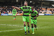 Forest Green Rovers Reece Brown(10) scores a goal 0-2 and celebrates with Forest Green Rovers Carl Winchester(7) during the EFL Sky Bet League 2 match between Port Vale and Forest Green Rovers at Vale Park, Burslem, England on 23 March 2019.