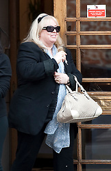 © London News Pictures. 16/04/2012. London, UK.  Dwina Gibb, the wife of singer Robin Gibb of the Bee Gees musical group leaving The London Clinic in central London on April 16, 2012. Robin Gibb, singer with the legendary British band the Bee Gees, is in a coma in hospital  after contracting pneumonia in his battle against cancer. Photo credit :  Ben Cawthra/LNP