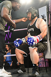 Prince Vacharaesorn Mahidol (black) vs Rob Pugsley (pink) boxing at the Boodles Boxing Ball, in association with Argentex and YouTube in Support of Hope and Homes for Children at Old Billingsgate London, United Kingdom - 7 Jun 2019 Photo Dominic O'Neil