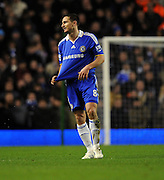 A frustrated Frank Lampard leaves the pitch after being shown the red card by referee Mike Riley after a reckless challenge on Xabi Alonso during the Barclays Premier League match between Liverpool and Chelsea at Anfield on February 1, 2009 in Liverpool, England.